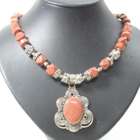 collier métal indien et pierres