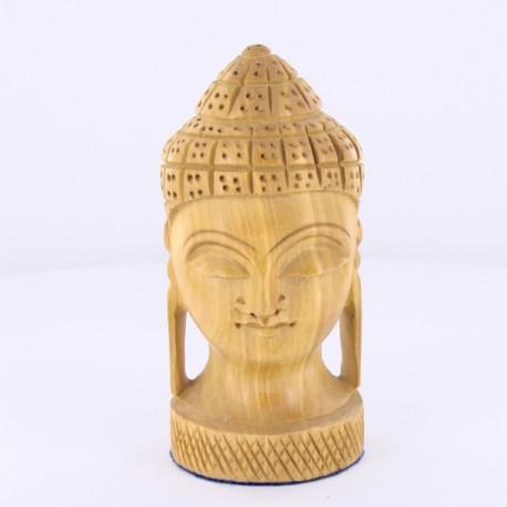 Statue en bois tête Bouddha