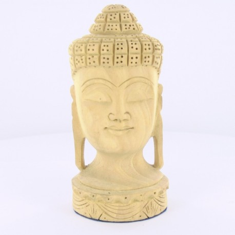 Tête Bouddha en bois