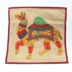 Housse de coussin Patchwork Camel
