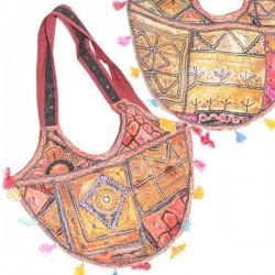 Besace sac indien en patchwork ancien Raj