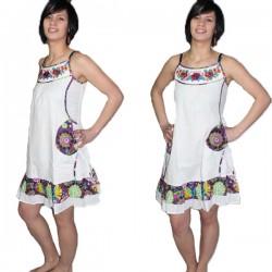 Robe en coton indien blanc