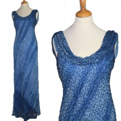 Robe de soirée perles Bleue