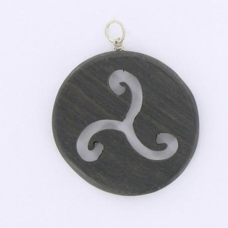pendentif rond bois celtique