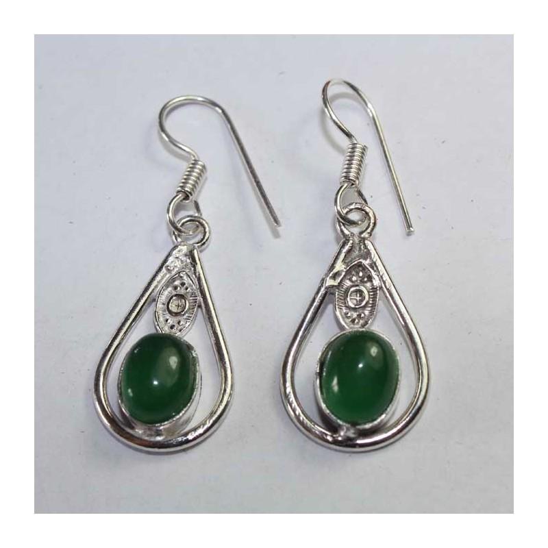 boucles oreilles inde artisanales pierre verte boutique indienne. Black Bedroom Furniture Sets. Home Design Ideas