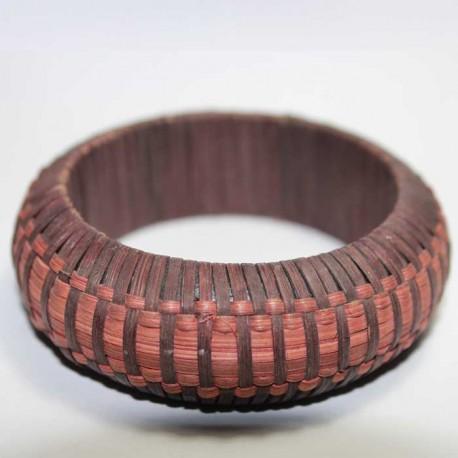 Bracelet Paille marron & rose
