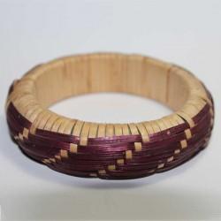 Bracelet indien Paille Nature & Prune