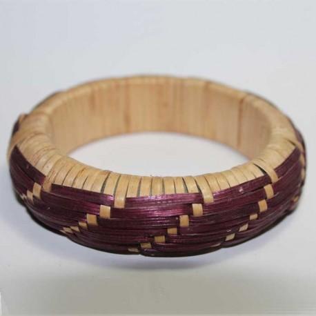 Bracelet Paille Nature & Prune