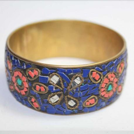 Bracelet Cuivre & Eclats de pierres bleus