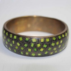 Bracelet Cuivre & Marqueterie Vert