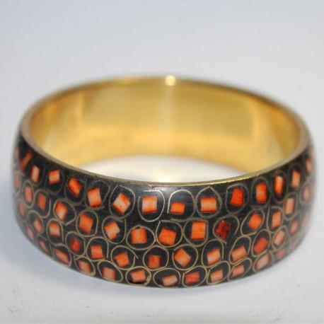Bracelet Cuivre & marqueterie orange