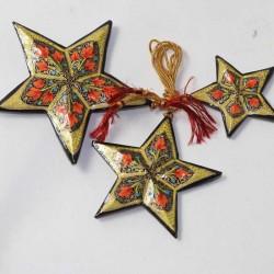 3 étoiles artisanales papier maché Cachemire