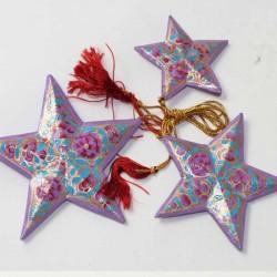3 étoiles décoration Noel Cachemire artisanat indien