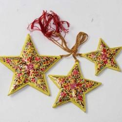 Artisanat indien Set 3 étoiles décoration - Cachemire
