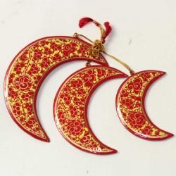 Set 3 lunes papier mâché indien décoration Cachemire