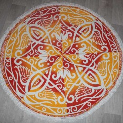 Tenture indienne Hippie Yoga Jaune/Rouge