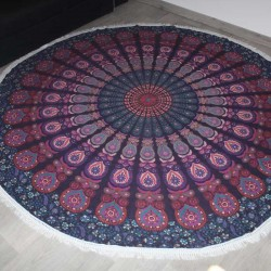 Grande Tenture indienne Mandala Yoga Marine/Violet