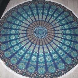 Grande Tenture indienne Mandala Yoga Bleu/Vert