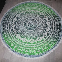 Tenture indienne Ronde Fleur de Lotus Yoga Vert/Blanc
