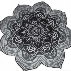 Tenture indienne Fleur de Lotus Yoga Noir & Blanc