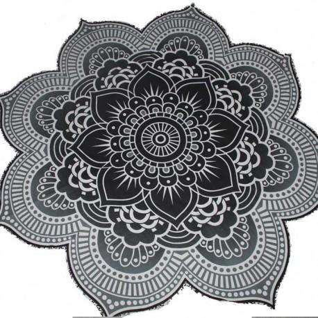 Tenture Fleur de Lotus Yoga Noir & Blanc
