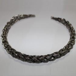 Collier indien métal tressé argenté