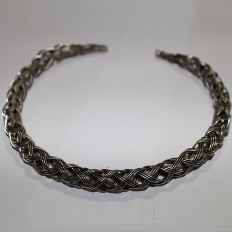 Collier métal tressé argenté