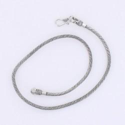 Collier indien Snake métal argenté 50 cm