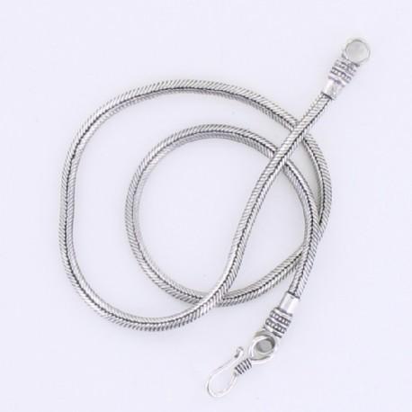 Collier Snake métal argenté 50 cm