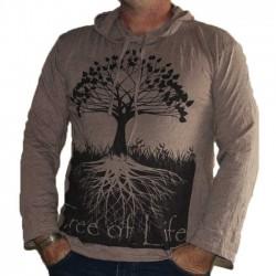 T-Shirt Manche Longue Capuche XL Arbre de vie Marron