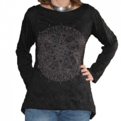 Tunique Coton Taille L/XL Mandala Noir