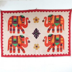 Broderie 4 Eléphants Rajasthan