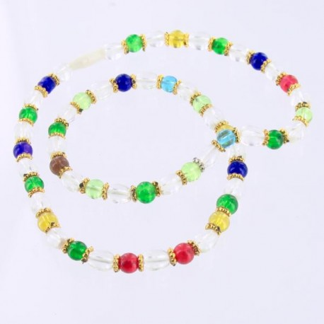 Chapelet - Mala Tibétain perles de verre multicolore