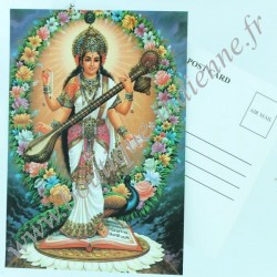 Carte Postale Indienne Saraswati