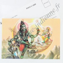 Carte Postale Indienne Shiva & Ganesh