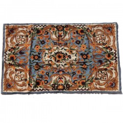 Tapis artisanal indien Laine Brodée Cachemire