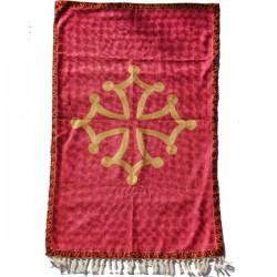 Tapis artisanal Indien en soie Croix Occitane