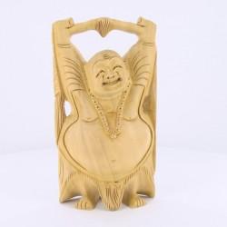 Statue indienne Bouddha Rieur bras levés 15cm
