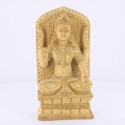 Statue indienne Bois Laxmi sur Socle 16cm