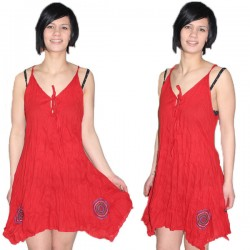 Robe indienne coton rouge