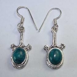 Boucles oreilles indiennes Pierre Bleu Turquoise