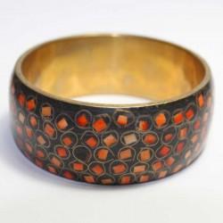 Bracelet indien Cuivre & marqueterie orange