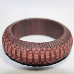 Bracelet indien Paille marron & rose