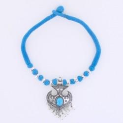 Collier indien coton bleu et torquoise