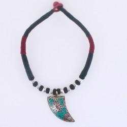 Collier tibetain coton et pendentif