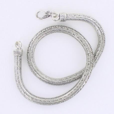 Collier Snake métal argenté 44 cm