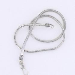 Collier fin Snake métal argenté 50 cm