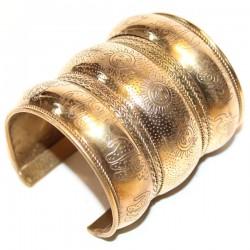 Large Bracelet Indien Métal Doré