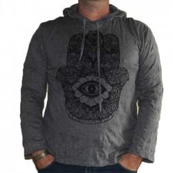 T-Shirt Homme Manche Longue XL Main-Oeil Gris