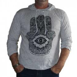 T-Shirt Coton Manche Longue et Capuche Main Gris
